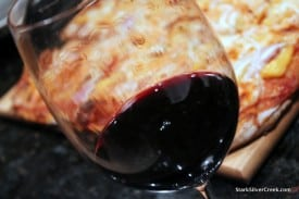 Do not adjust your iPads: That is undoctored, beautiful Petite Sirah. In the background: Loni's home made pizza awaits.