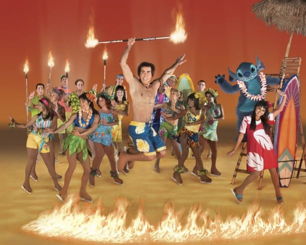 Lilo (bottom right) and Stitch (right back) celebrate a  Hawiian luau with David (jumping, center)