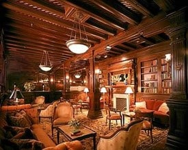 Rich wood paneling throughout the downstairs
