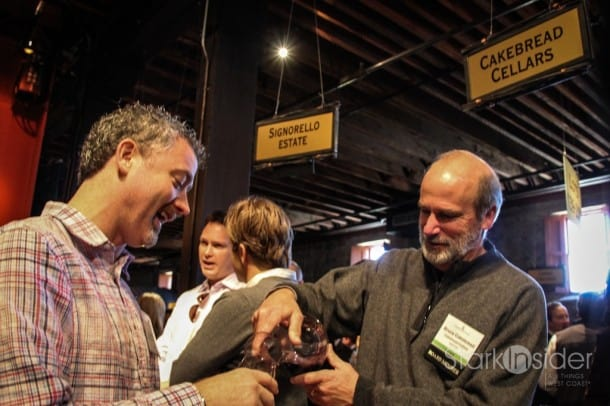 Bruce Cakebread of Cakebread Cellars pours a 2010 Vaca Range Blend at the barrel tasting at Premiere Napa Valley 2012.