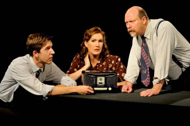 """From left, Weston Gaylord, Courtney Walsh and Tom Freeland appear in Stanford Repertory Theater's """"War of the Worlds,"""" based on works by Orson Welles and H.G. Wells"""