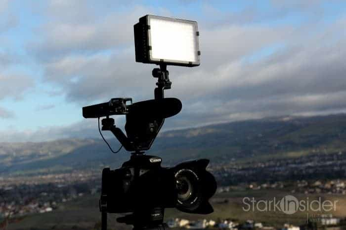 Canon EOS 70D with Rode mic, LED panel, Zoom H1