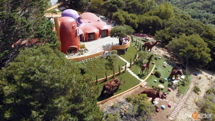 Flintstone House aerial view