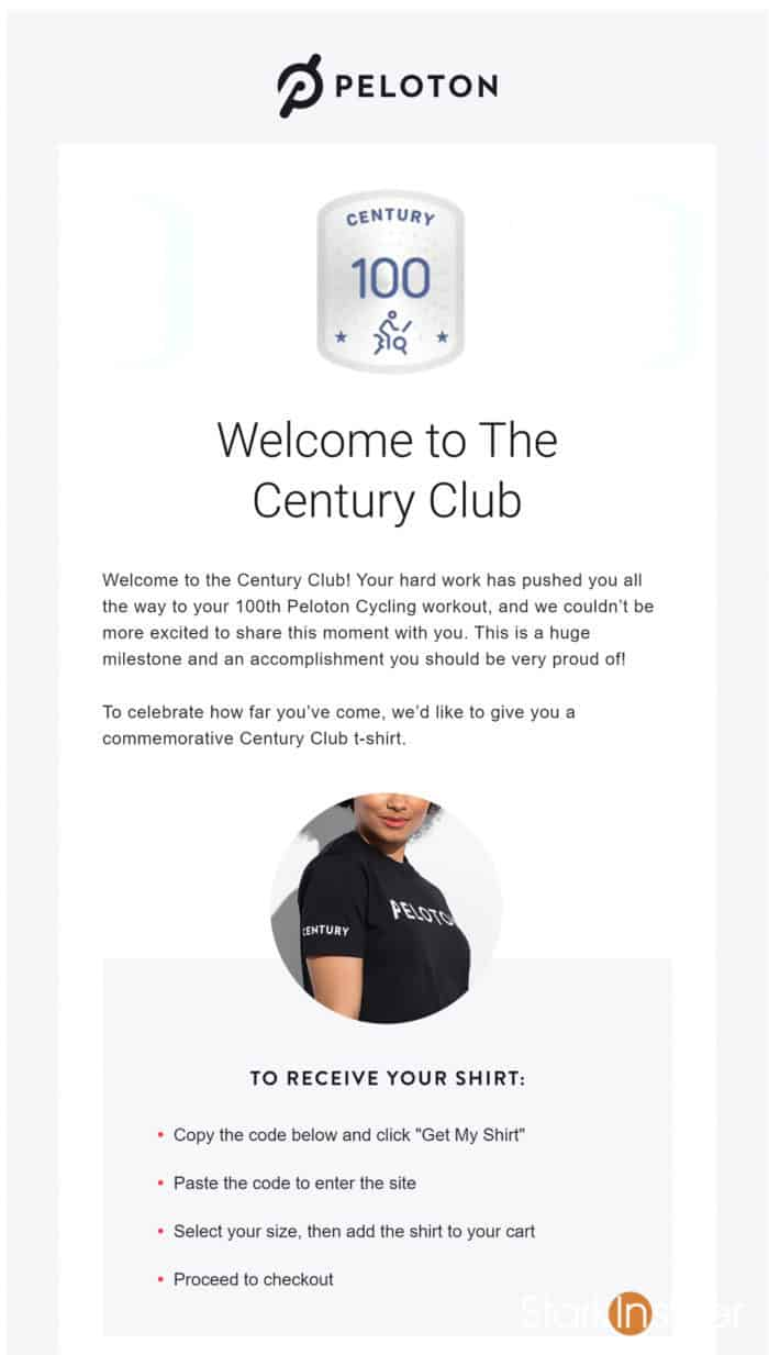 Peloton - Welcome to The Century Club email and shirt