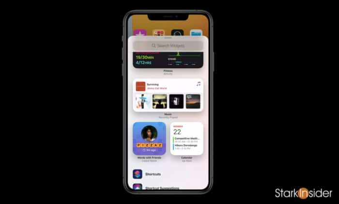 iOS 14 Widget Gallery search widgets add to home screen