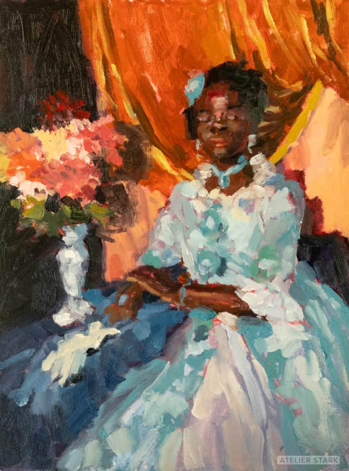 Queen Gazelle, oil on canvas panel, 12x16 inches ©️Stark 2020