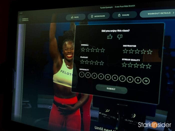 Peloton post-ride review rating options interface