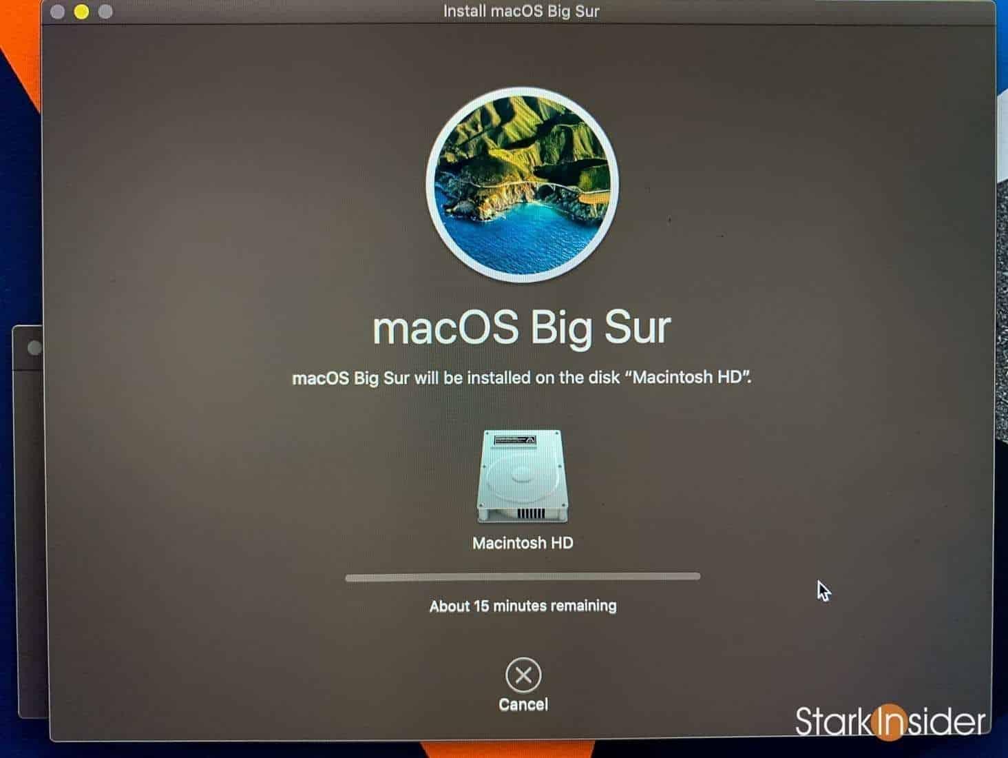 macOS Big Sur installation 15 minutes MacBook Pro
