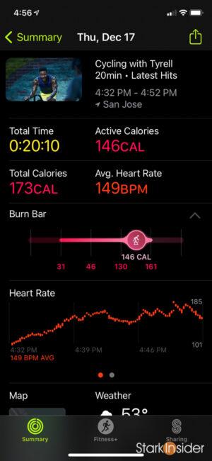 Apple Fitness+ metrics workout summary BPM, burn bar, time