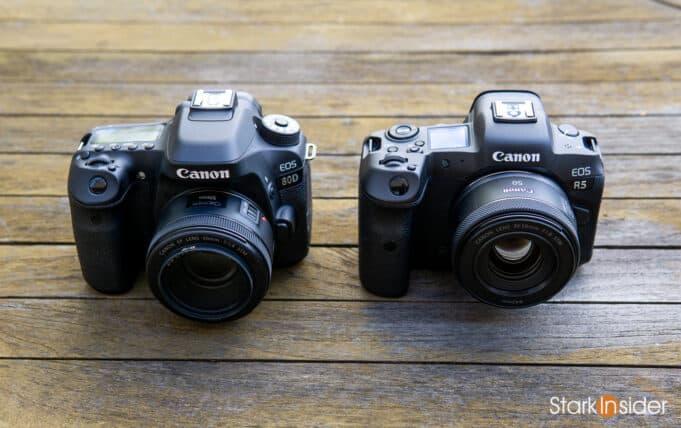 Canon EOS 80D vs Canon EOS R5 size
