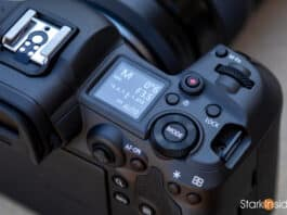 Canon EOS R5 LCD and top plate dials and controls