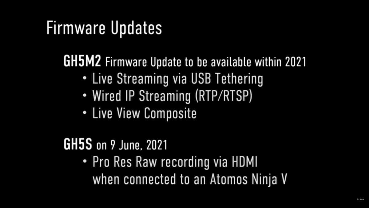 Panasonic Lumix GH5 Mark II, GH5S firmware updates