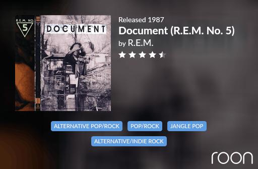Document (REM No. 5) Allmusic Review 1987 REM revisited