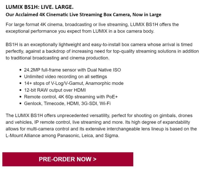 Panasonic Lumix BS1H Box Camera - Thoughts on new L-mount model
