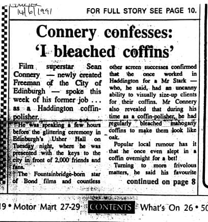 """Sean Connery Confesses: """"I bleached coffins"""""""